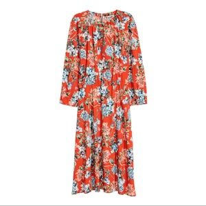 H&M Orange Floral midi dress